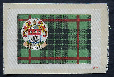 GUNN Clan Tartan and Coat of Arms SILK card issued in 1922