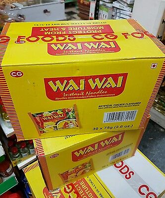 Wai Wai Instant Noodles, Chicken Flavored, 75g Packages (1 x Box of 30) P&P UK