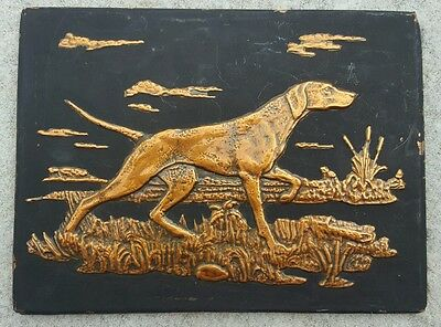 VINTAGE HUNTING POINTER DOG Flushing Retriever hammered copper Relief 3D gift