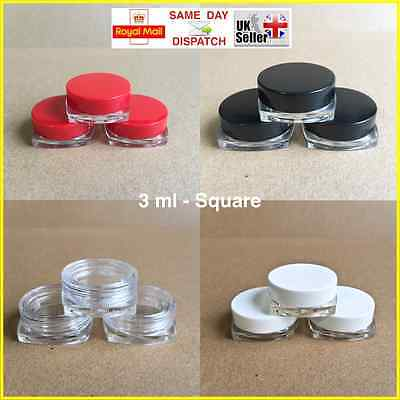 SQUARE 3ml SCREW TOP JAR POT CONTAINER LIP BALM CRAFT CREAM NAILS CHOICE OF QTY