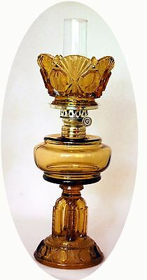 SCARCE Antique Rich Amber CATHEDRAL Miniature Oil Lamp, S1-480, Ca. 1885