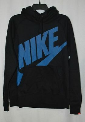 Nike Men's Black And Blue Pullover Fleece Swoosh Hoodie Size M Bnwtags ~ 717289