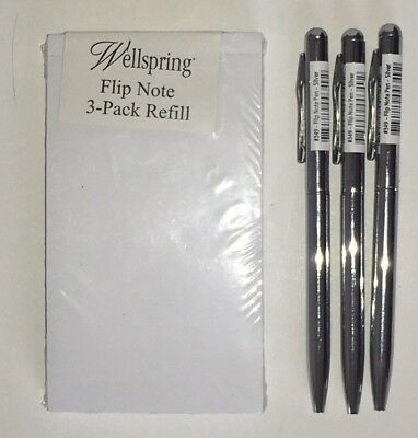 Pk of 3 Wellspring Flip Note Refill Paper Pads#2204& 3 *SILVER* Replacement Pens