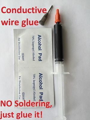 Conductive Wire Glue Model Railway Wiring NO Soldering just glue it, black UK