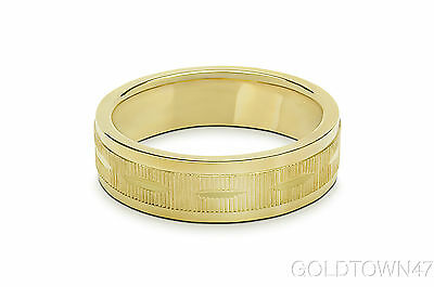Solid 14kt Yellow Gold Wedding Band Men/ Women Line Free Engraving Size 3 and up