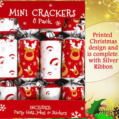 Silver Ribbon Novelty Luxury Christmas Mini Crackers Party Xmas Selection 8 Pack