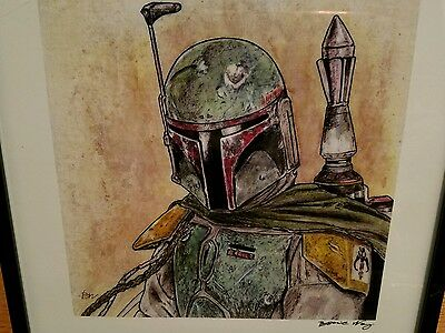 BOBA FETT Star Wars Framed Art PRINT artist SIGNED Bonnie Wong DC