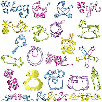 SATIN BABY * Machine Embroidery Patterns * 22 Designs, 2 Sizes