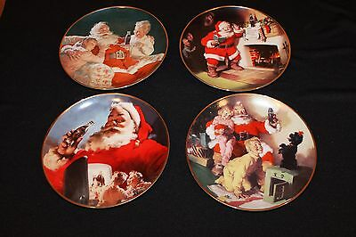 Coca Cola Set of 4 - 1994 Christmas Santa Claus Franklin Mint Collector Plate