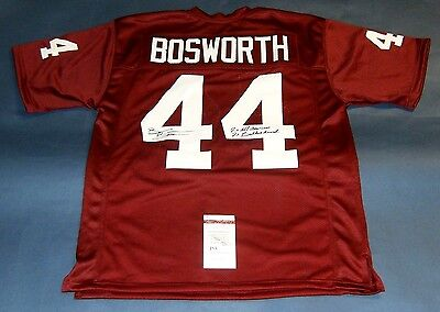 Brian Bosworth Autographed Oklahoma Sooners Jersey Jsa The Boz 2 Insc Aa Butkus