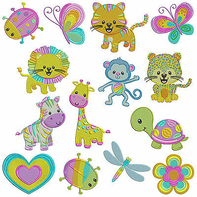 PASTEL ANIMALS * Machine Embroidery Patterns * 14 Designs in 3 sizes