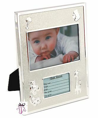 Baby Birth Record Silver Photo Picture Frame Newborn Babyshower Girl Boy Gift