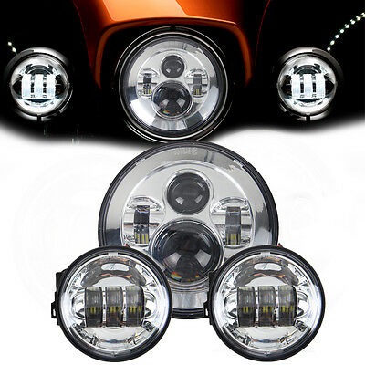 "Motorcycle 4.5 inch Harley Davidson LED Fog Light +7"" Round Projector Head Lamp"