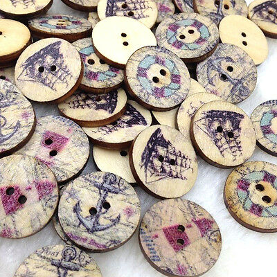 10/50/100/500pcs Mix Europe Wood Buttons 20mm Sewing Craft 2 Holes Lots WB316
