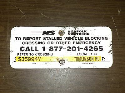Authentic Norfolk Southern Crossing Signal Malfunction Aluminum Sign 848