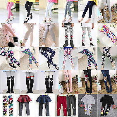 Girls Skinny Tights Stockings Pantyhose Socks Kids Cotton Cartoon Trousers Pants