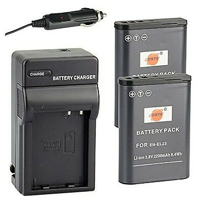 DSTE 2x EN-EL23 Battery + DC152 Travel and Car Charger Adapter for Nikon Cool...