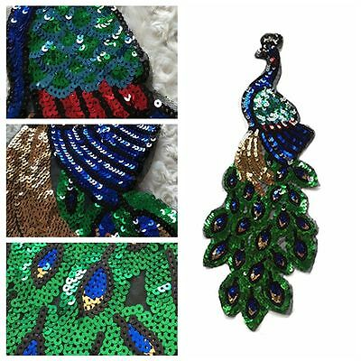 Embroidered Peacock Applique Iron-On Patch Sequins Motif Garment Decoration DIY