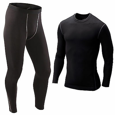Mens Compression Top Base Layer Tights Pants Running YOGA Workout Gym Sportswear