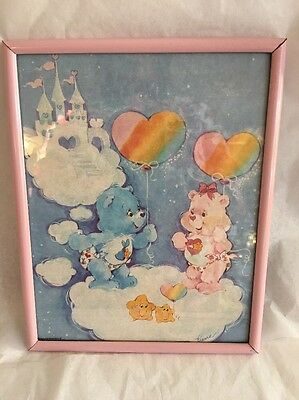 "Vintage Care Bears 8"" X 10"" Framed Picture BABY HUGS & TUGS"