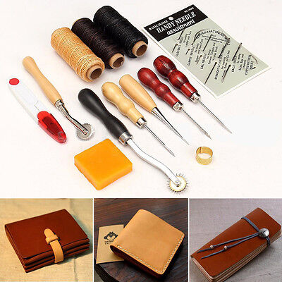 13Pc -Leather Craft Diy Tool Set Tools Kit For Leathercraft Stamp Punch Hole Awl