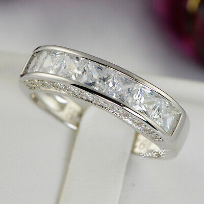 Mens Sterling Silver Cz Wedding Band Ring size 7-13