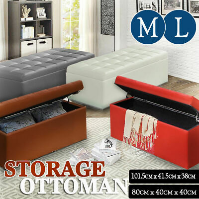 Blanket Box Storage Ottoman PU Leather Chest Toy Foot Stool Bed