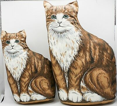Vtg Antique Stuffed Animal Doll Cloth Tapestry Two Side Cat Kitten Throw Pillow