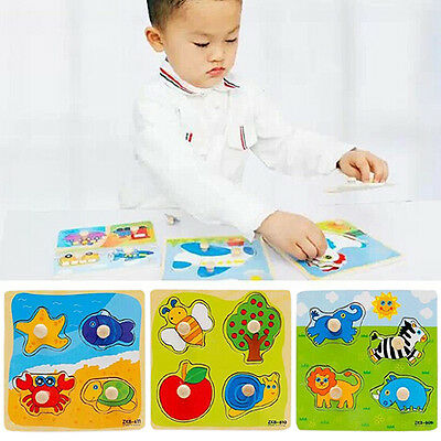 Baby Toddler Intelligence Development Animal Wooden Brick Puzzle Toy Gift