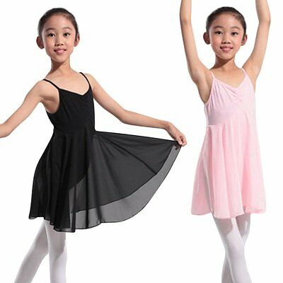 Kids Girls Dress Leotard Dance Lace Short Sleeve Ballet Skating Tutu Skirt 4-13Y