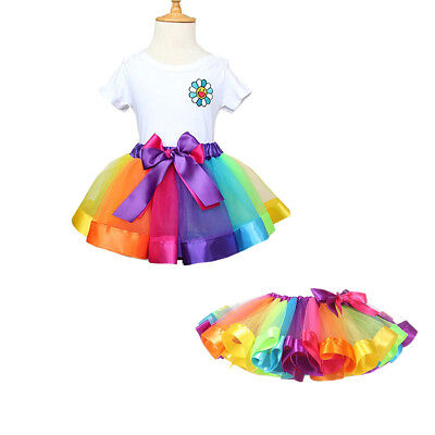 Rainbow Baby Toddler Girls Tutu Skirt Party Dance Dress Tulle Birthday Fast US