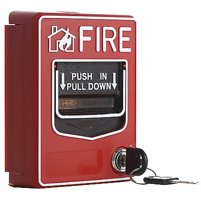 Wired Call Point Fire Reset Push In Pull Down Emergency Alarm Station Key Lock