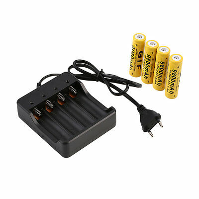 4x 18650 3.7V 9800mAh Li-ion Rechargeable Battery+EU Smart Charger Indicator #T