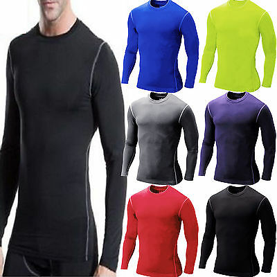 Unisex Mens Compression Armour Base Layer Skin Stretchy Long Sleeve Tops T-shirt