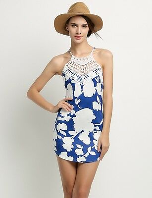 Womens Backless Lace Patchwork Mini Dress Print Floral Casual Beach Summer Sexy