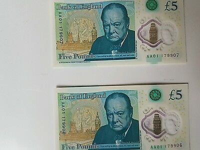 """Pair New £5 Aa01 Low Sequential No""""s"""