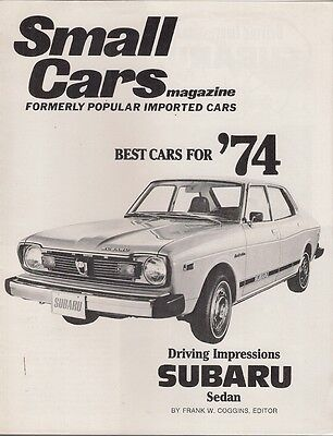 Subaru 1400 Sedan Road Test 1974 USA Market Brochure Small Cars Magazine Leone