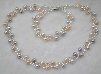 wholesale 5 Qty real pearl sets necklace & bracelets  magnetic clasp