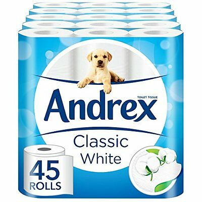 Toilet Roll Tissue Paper 45 Rolls Andrex Classic White 2 Ply Bathroom Cleaning