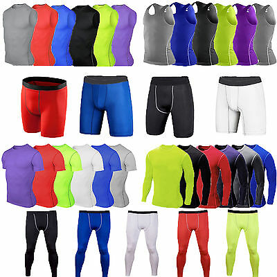 Solid Color Compression Base Layer Skin Mens Running Yoga Workout Gym Activewear