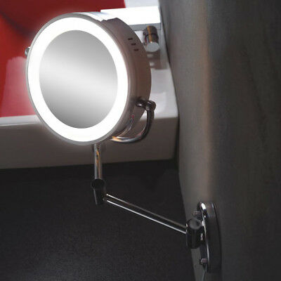Wall Mounted Bathroom Makeup Mirror 7x Magnifying LED Lighted Shaving Cosmetic