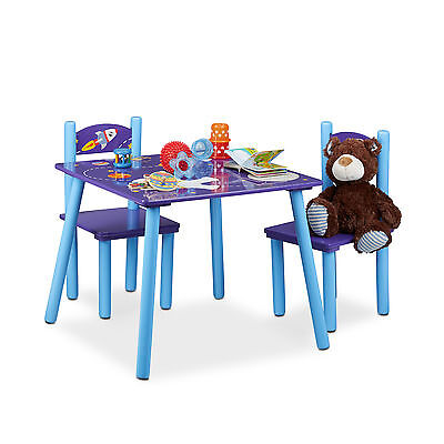 Children's Table and Chair Set Boys' Blue Astronaut Table with 2 Chairs Wooden