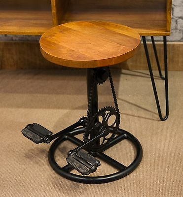 Solid Mango Wood Top Cycle Pedal Stool Small Coffee Occasional Side Table MAN210