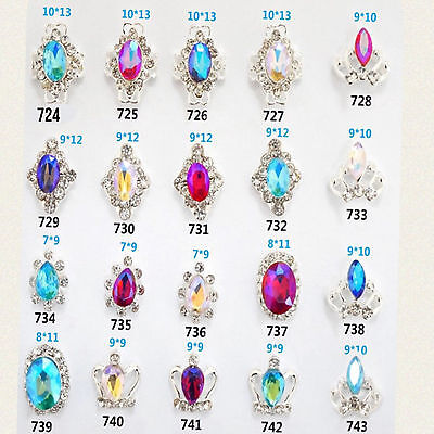 Crystal Rhinestones Nail Art Decoration 3D Charm Alloy Silver Gems Jewellery Uk