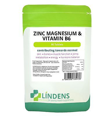 Zinc, Magnesium & Vitamin B6 - 90 tablets skin, joint, hormone, energy (LINDENS)