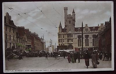 Scarce vintage postcard  castle street and the salvation army citadel Aberdeen