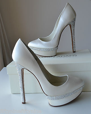 NEW BENJAMIN ADAMS CAMERON  Ivory silk Swarovski  Bridal Shoes UK 7 / 40
