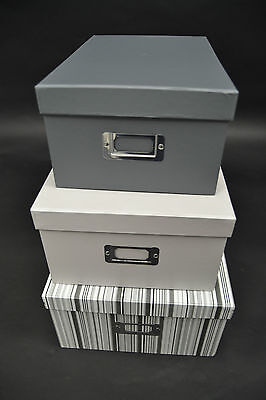 Brand New Sainsburys Grey & White Storage Shoe Boxes Set Of 3