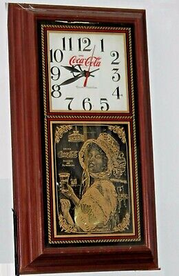 """Vintage Style Coca-Cola Wall Clock,  """"Lady on Glass"""""""