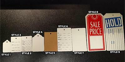 1000 Pc Clothing/Furniture Unstrung Price Tags, Merchandise Store Labels